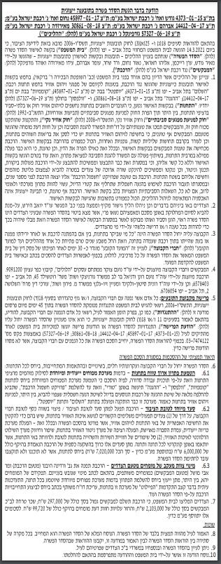 הסכם פשרה | רכבת ישראל